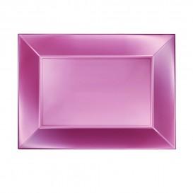 "Plastic dienblad microgolfbaar perzik kleur ""Nice"" 28x19cm (12 stuks)"