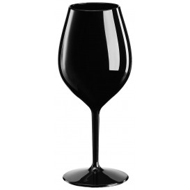 """Plastic herbruikbaar glas Wijn """"Tritan"""" zwart 510ml (1 stuk)"""