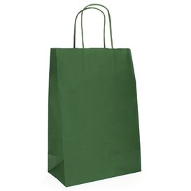 Sac en Papier Kraft Vert avec Anses 80g 20+10x29 cm (50 Utés)