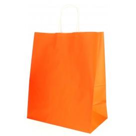 Sac en Papier Orange avec Anses 80g 26+14x32 cm (50 Utés)