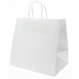 Papieren zak met handgrepen kraft wit 80g 26+17x24cm (50 eenheden)
