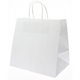 Sac en Papier Kraft Blanc avec Anses 80g 26+17x24 cm (50 Utés)
