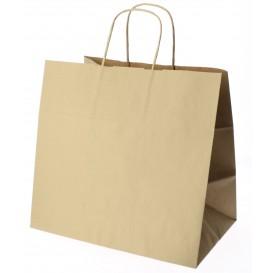 Papieren zak met handgrepen kraft bruin 100g 27+14x26 cm (25 eenheden)