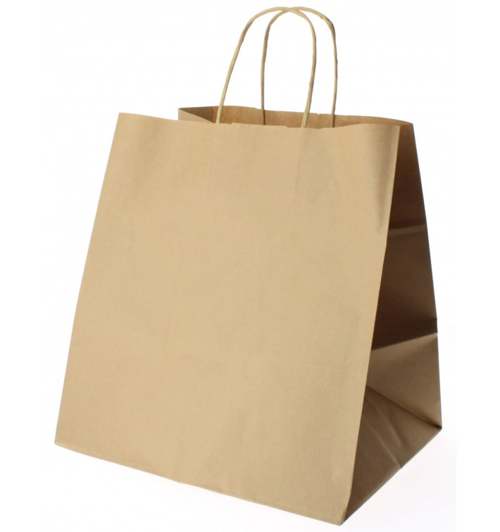 Papieren zak met handgrepen kraft bruin 80g 26+20x27cm (50 eenheden)