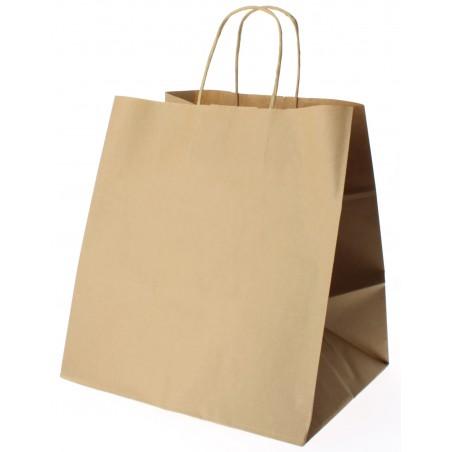 Bolsa Papel Kraft Marron con Asas 80g 26+20x27 cm (50 Uds)