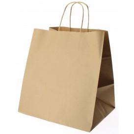 Papieren zak met handgrepen kraft bruin 80g 30+18x29cm (200 eenheden)