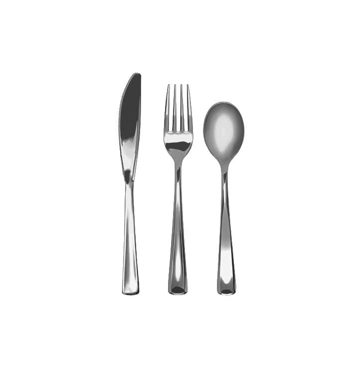 Kit Couverts Fourchette, Couteau, Cuillère Argenté (10Kits)