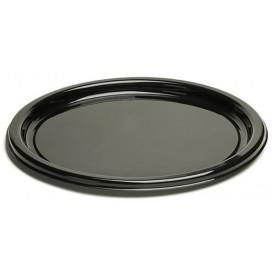 Plastic bord Rond vormig zwart 18 cm (250 stuks)