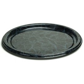 Plastic bord Rond vormig marmer Vein 18 cm (25 stuks)
