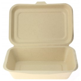 """Suikerriet Gescharnierd Container """"Menu Box"""" 17,5x12,5x5,3cm (50 stuks)"""