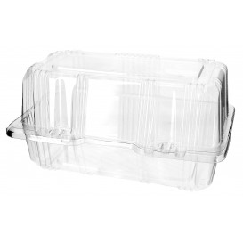 Plastic scharnierende bakkerij Container PET 18x9,5x10cm (220 stuks)