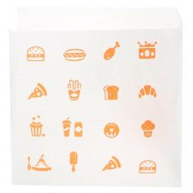 """Papieren voedsel zak opening L vormig """"Saken Food"""" 15x15cm (250 stuks)"""