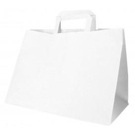 Sac Papier Blanc avec Anses Plates 70g 32+20x23cm (50 Utés)