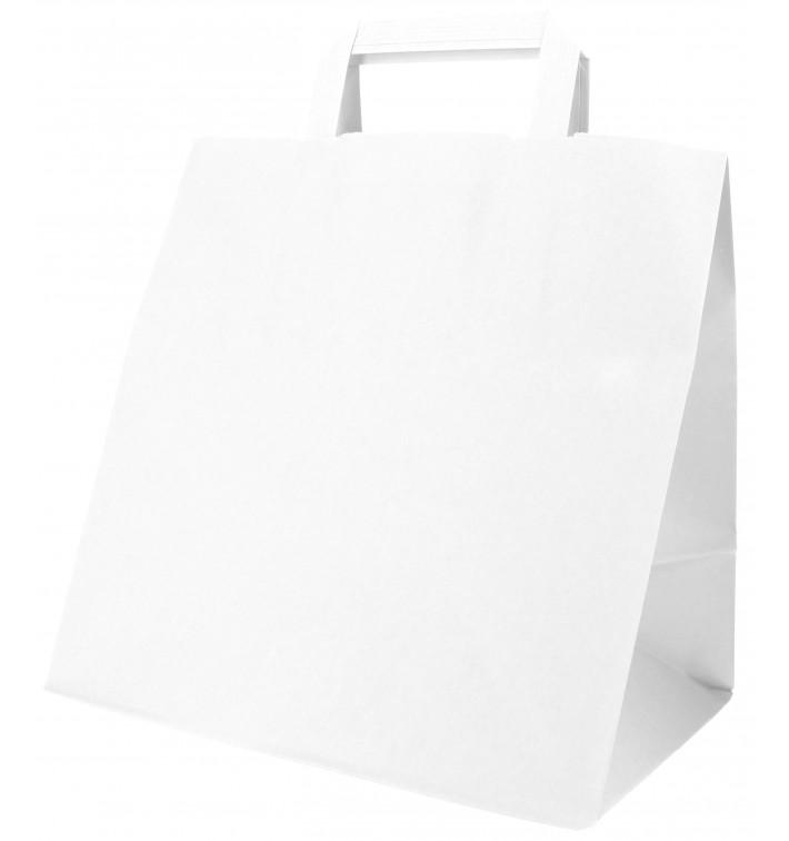 Sac Papier Blanc avec Anses Plates 70g 26+18x26cm (250 Utés)