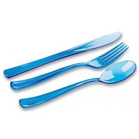 Plastic Bestekset vork, mes, lepel turkoois (20 sets)