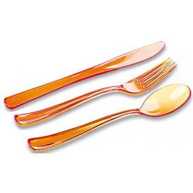 Couverts Fourchette, Couteau, Cuillère Orange (18 Utés)