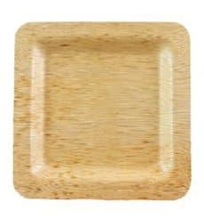 Assiette Carrée en Bambou 15x15x1cm (100 Unités)