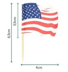 """Pique en Bois Drapeau """"USA"""" 65mm (144 Unités)"""