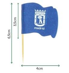 """Pique en Bois Drapeau """"Madrid"""" 65mm (144 Unités)"""
