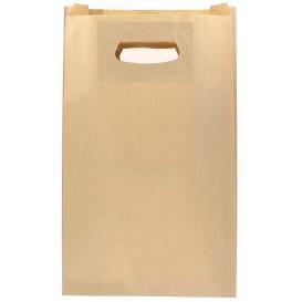 Papieren zak met handgrepen kraft uitgesneden hendels 24+7x37cm (50 stuks)