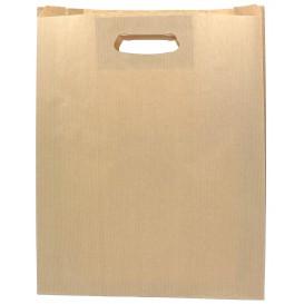 Papieren zak met handgrepen kraft uitgesneden hendels 41+10x42cm (250 stuks)