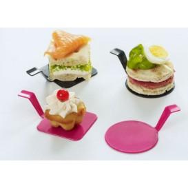 """Assiette Dégustation """"Gourmand"""" Noir 4x4cm (50 Utés)"""
