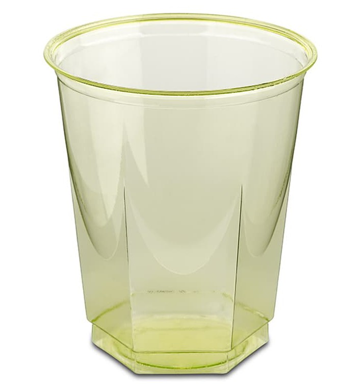 Gobelet Plastique Hexagonal Pistache PS Cristal 250ml (250 Utés)