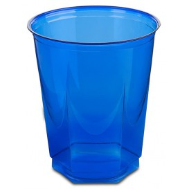 Gobelet Plastique Hexagonal Bleu PS Cristal 250ml (10 Utés)