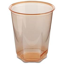 Plastic PS beker Kristal Zeshoekige vorm oranje 250ml (250 stuks)