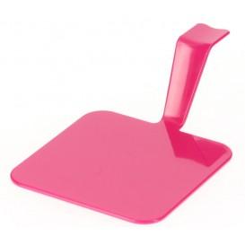 "Proeving Plastic bord PS ""Gourmen"" framboos 4x4cm (50 stuks)"
