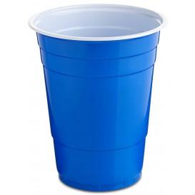 Plastic PS beker blauw American Parten 550ml (25 stuks)