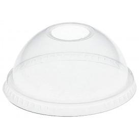 Plastic PET koepel Deksel met gat Kristal Ø8,3cm (1000 stuks)