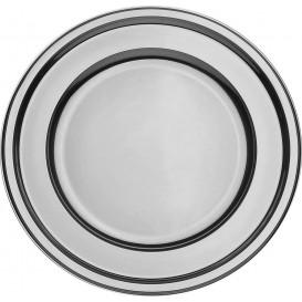 Assiette en Plastique PET Ronde Argenté Ø23cm (6 Utés)