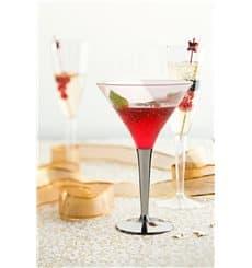 Verre à Cocktail Plastique Pied Argenté 100ml (6 Unités)