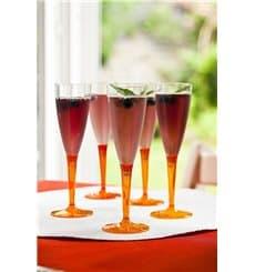 Flûte Champagne Plastique Orange 100ml (6 Unités)