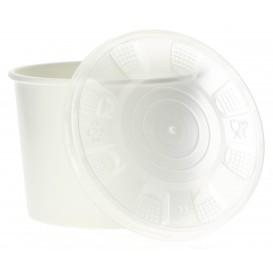 Papieren Container met Plastic Deksel wit PP 350ml (250 stuks)