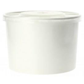 Pot en Carton Blanc avec Couvercle PP 488ml (250 Unités)