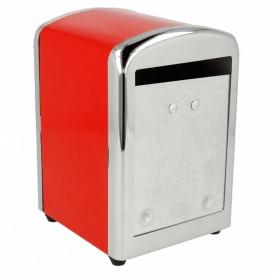 """Servet van staal dispenser""""Miniservis"""" rood 10,5x9,7x14cm (1 stuk)"""