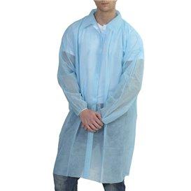 Blouse Visite PP non Tissé Velcro et Sans Poches Bleu XL (200 Utés)