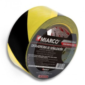 Zelfklevende veiligheidstape op rol geel/zwart 5cmx33m (1 stuk)