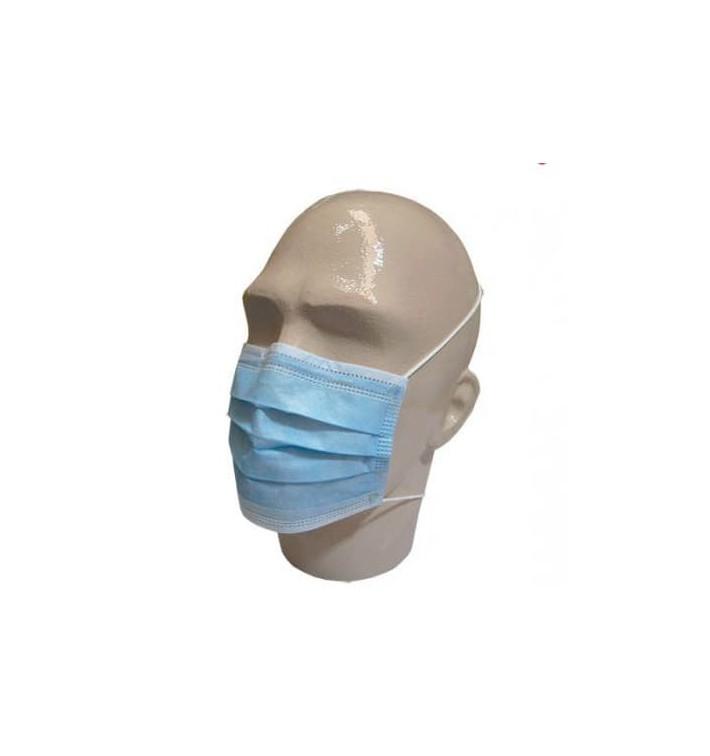 Masque Chirurgical Bleu 3 plis avec élastiques (1.000 Utés)