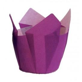Cupcake vorm voering tulpvorm paars Ø5x5/8cm (125 stuks)