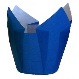 Cupcake vorm voering tulpvorm blauw Ø5x5/8cm (125 stuks)