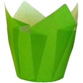 Cupcake vorm voering tulpvorm groen Ø5x5/8cm (125 stuks)