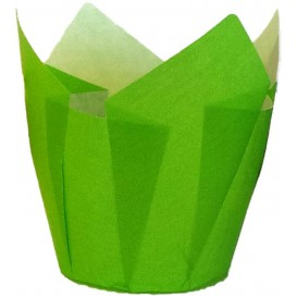 Cupcake vorm voering tulpvorm groen Ø5x5/8cm (2000 stuks)