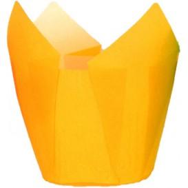 Cupcake vorm voering tulpvorm geel Ø5x5/8cm (125 stuks)