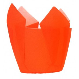 Cupcake vorm voering tulpvorm oranje Ø5x4,2/7,2cm (135 stuks)