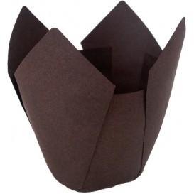 Cupcake vorm voering tulpvorm bruin Ø5x4,2/7,2cm (135 stuks)