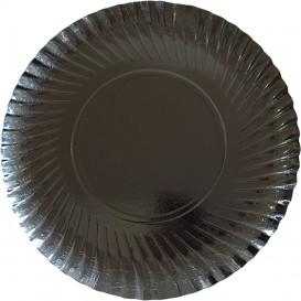 Assiette ronde en Carton Noir 300 mm (100 Unités)