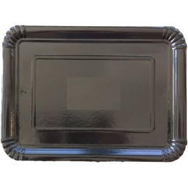Plat rectangulaire en Carton Noir 25x34 cm (100 Unités)